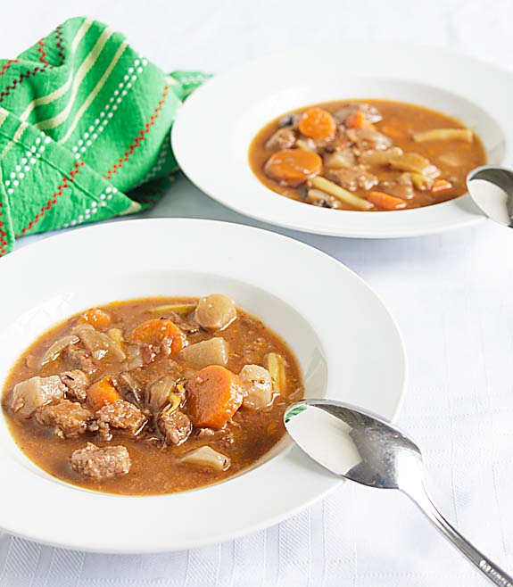 Loaded with carrots, turnips, green beans & mushrooms, in a rich beef stock, Hearty Stovetop Beef Stew makes a complete meal. Just add a whole grain bread.