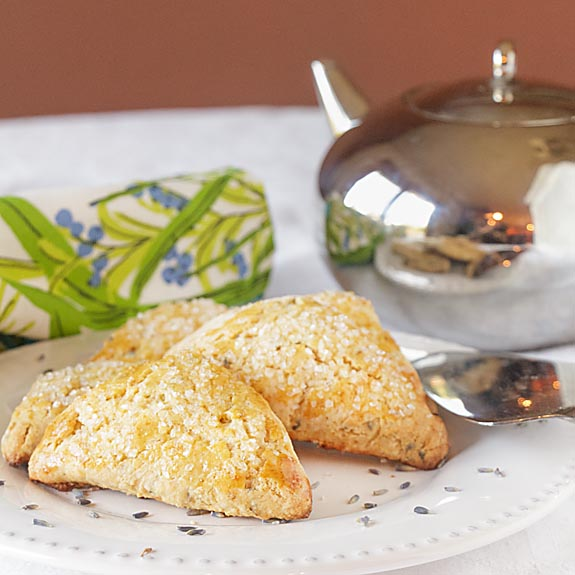 Flakey & slightly sweet, with delicate floral overtones, Honey Lavender Scones are perfect with tea–or as part of a special brunch.
