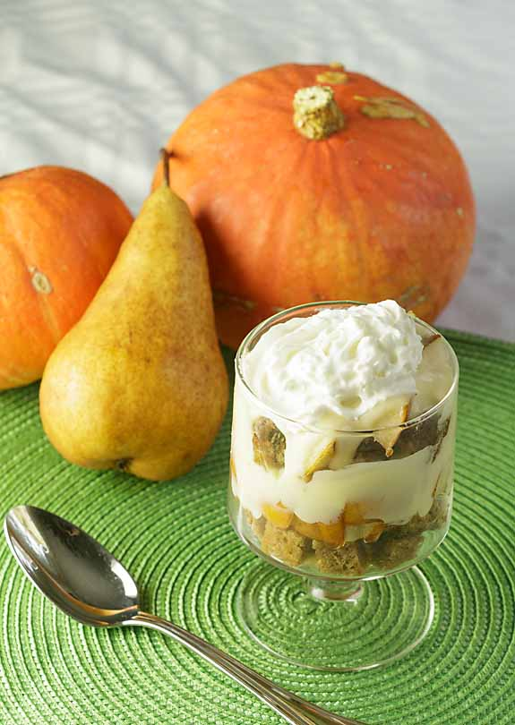 A simplified version of the classic English dessert, Pumpkin Pear Trifle combines pumpkin bread, juicy pears and maple custard for a perfect fall treat.