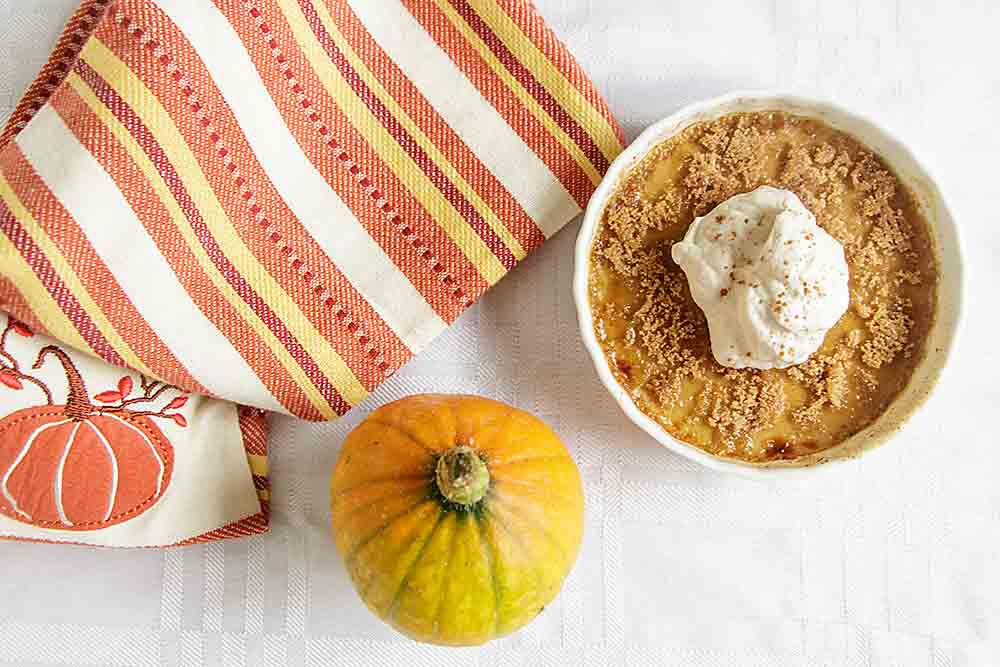 Maple Pumpkin Creme Brulee is sweet and creamy with a crunchy, caramel-y sugar top. And you don't need a torch to make it!