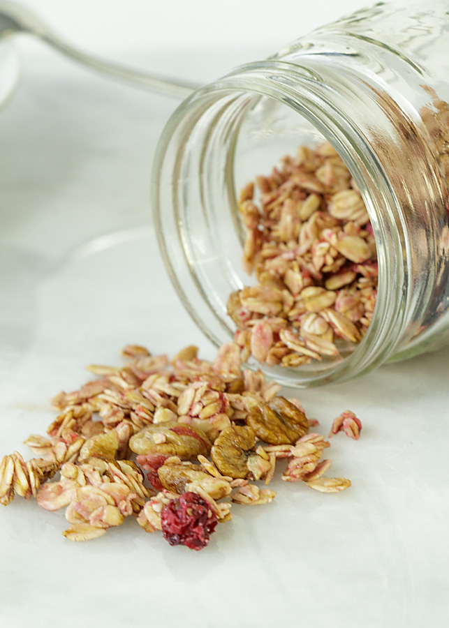 Sweet, Tart & Nutty, Cranberry Nut Granola is sweetened with honey & 100% natural. Boil cranberries in honey for a few minutes, then bake until dry--Mmm!