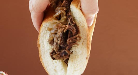 Slow Cooker Grass-fed French Dip Sandwich