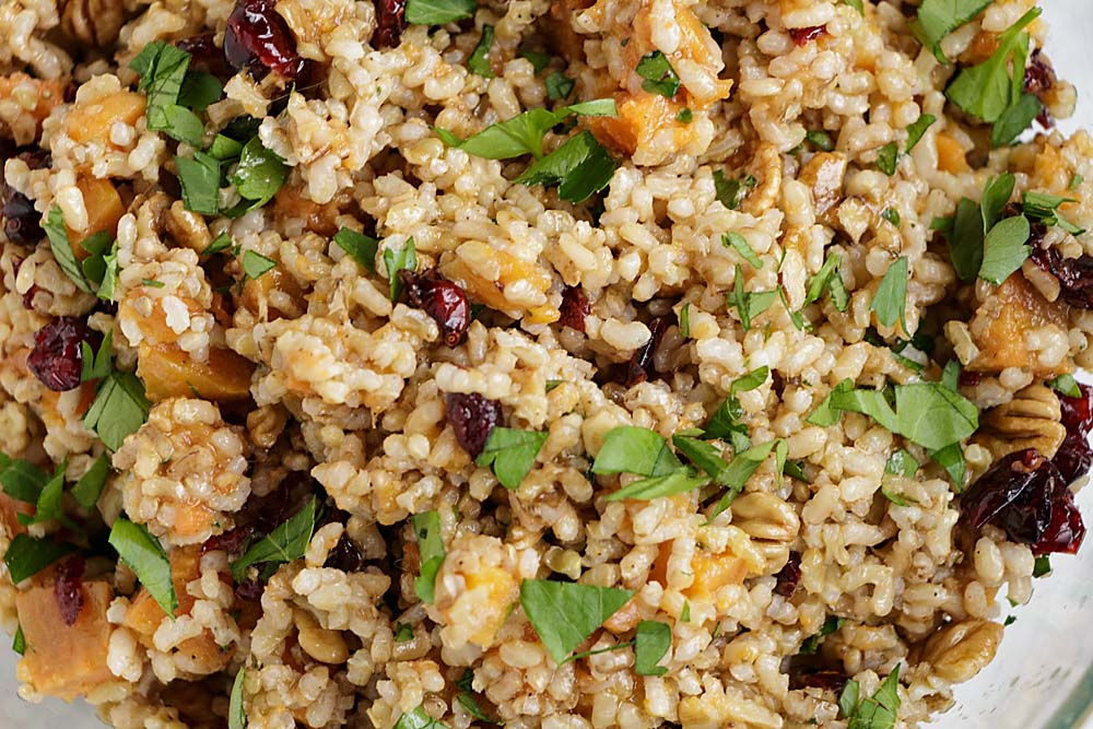 Check out the cranberries and sweet potatoes in this Harvest Brown Rice Salad