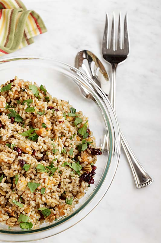 Harvest Brown Rice Salad with Sweet Potatoes & Cranberries has an earthy feel that reminds you of the goodness of the harvest. You might almost forget it's winter.