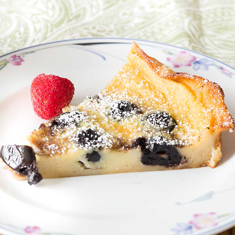 Brandied Cherry Clafoutis is a custardy dessert full of fruit and vanilla. Imagine a sweet quiche with the slightest hint of cakiness (the tiny bit of flour also makes the recipe more forgiving). Perfect for brunch or a dessert with flare.