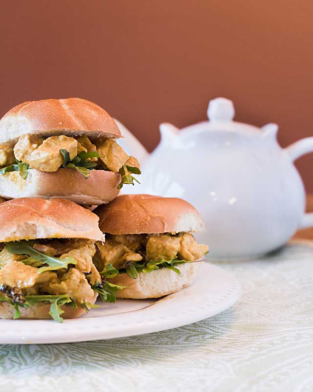 With a sweet-savory blend of chicken, chutney, curry and dried fruit, coronation chicken salad is perfect for royal wedding watchers--or for a summer picnic or brunch.  Top bread or lettuce, then serve as an entrée or appetizer.