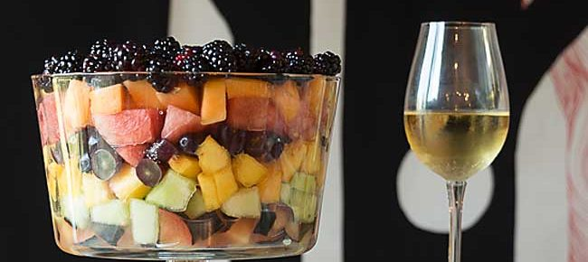 Seven Layer Fruit Salad with Simple Sauce