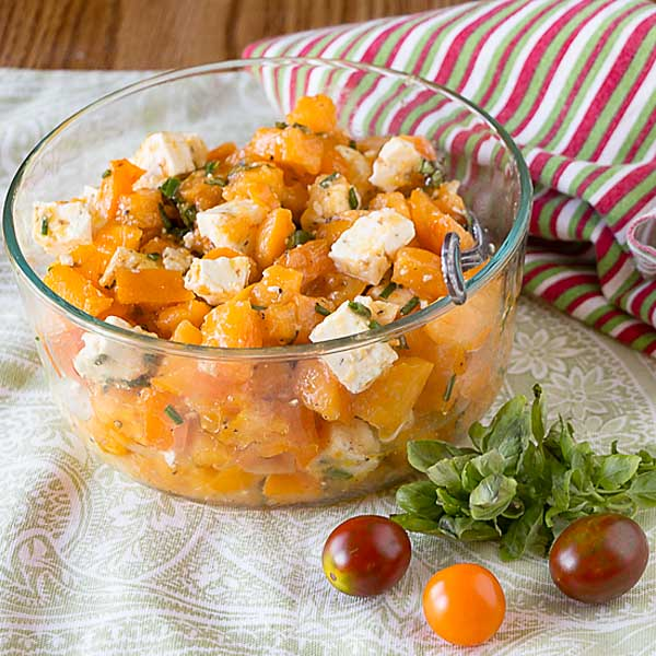 A simple taste delight, Tomato Feta Basil Salad comes together in minutes with the help of a quick vinaigrette. Enjoy the bountiful fall!