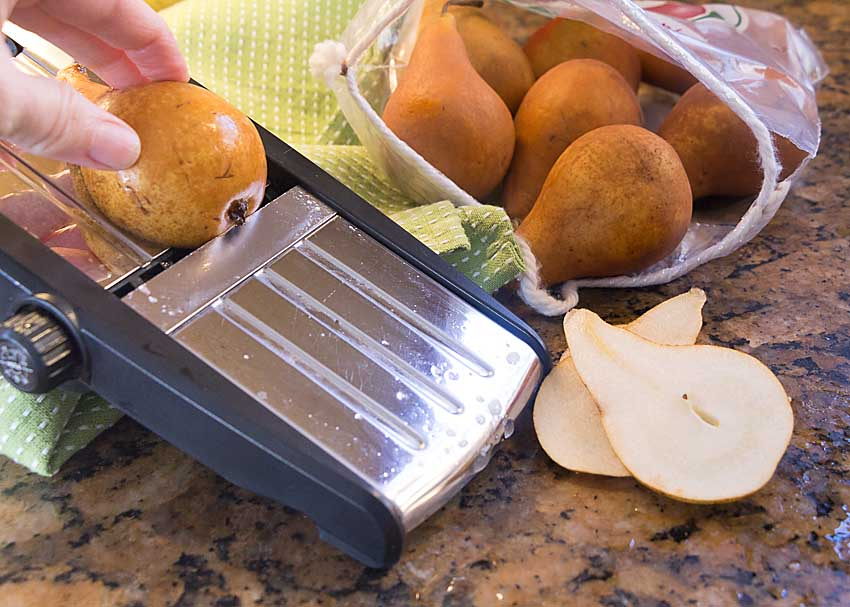 Cut pears lengthwise