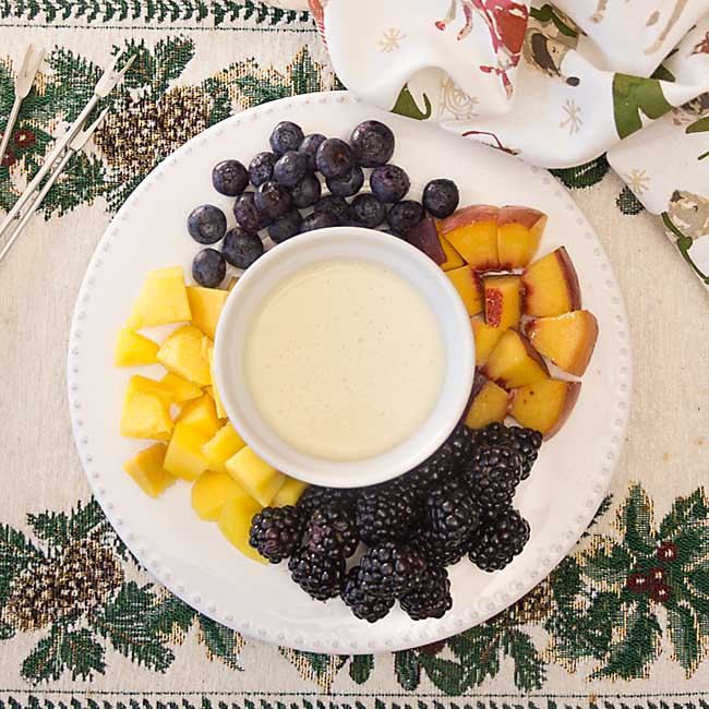 Like a rich liquid custard, crème anglaise fondue is perfect for dipping fruit or brownie bites.  Drizzling cake or pie. Topping crepes. Can you say mmm?
