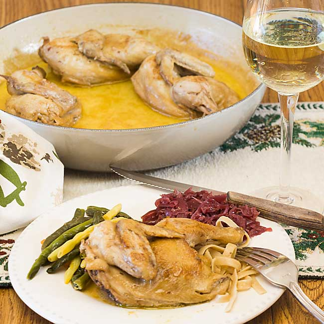 With a rich creamy sauce, lightly flavored with apple, Cider Cornish hen is perfect for a small dinner party or special family dinner.