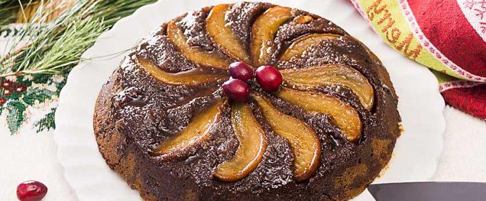 Pear Gingerbread Upside-Down Cake