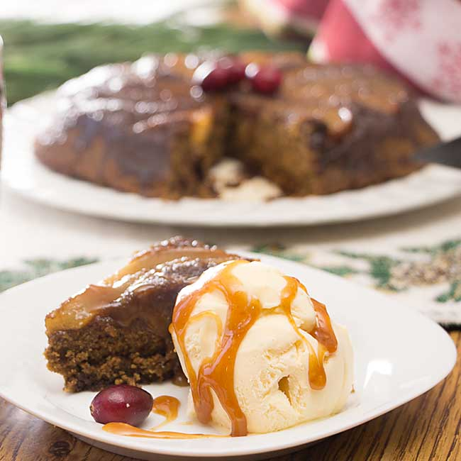 With sweet pears and spicy gingerbread, this Pear Gingerbread Upside-Down Cake is a perfect holiday treat. Even better with ice cream and caramel sauce!