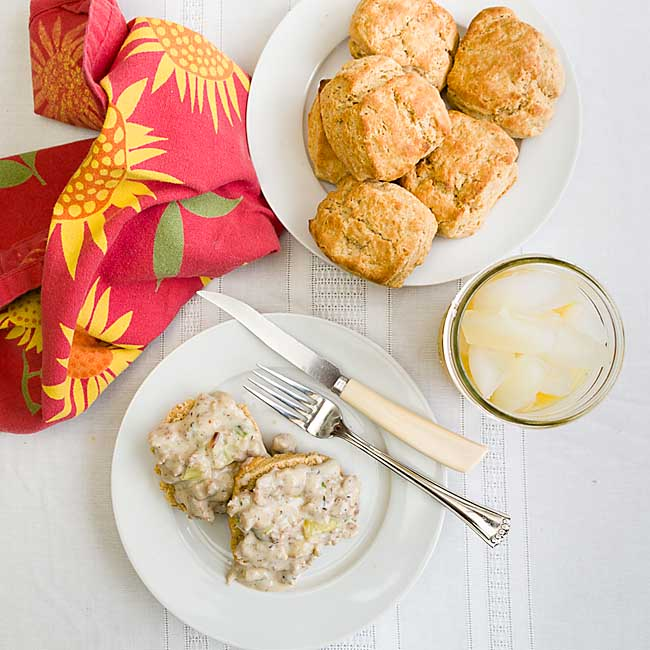 Creamy gravy & savory sausage, topping carb-happy biscuits, makes Biscuits and Gravy a comfort food that's perfect any time of day!
