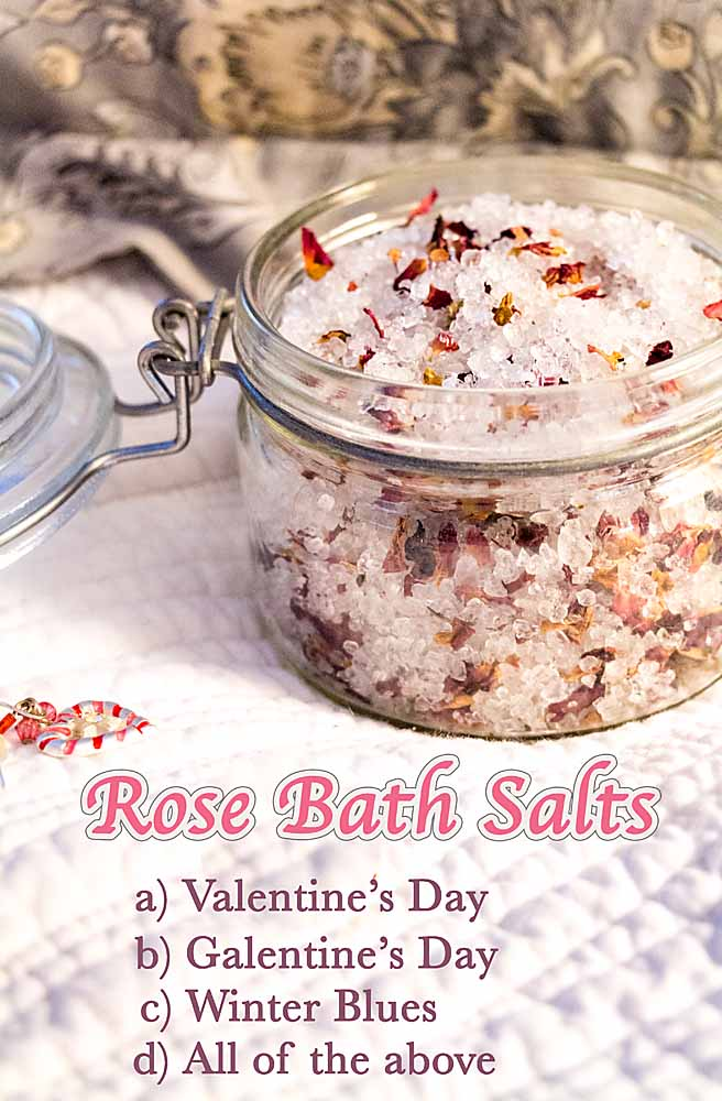 Homemade Rose Bath Salts are easy to make, soothing and perfect for celebrating Valentine's Day, Galentine's Day or just a rejuvenating winter soak.