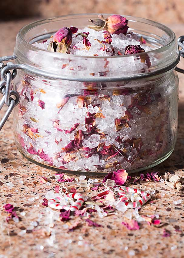 Homemade Bath Salts are easy to make, soothing and perfect for celebrating Valentine's, Galentine's or just a rejuvenating winter soak.
