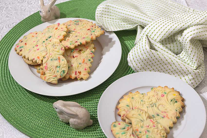 Made with an embossed roller and colored jimmies, Confetti Shortbread Cookies are an easy treat to bring some spring into your life.
