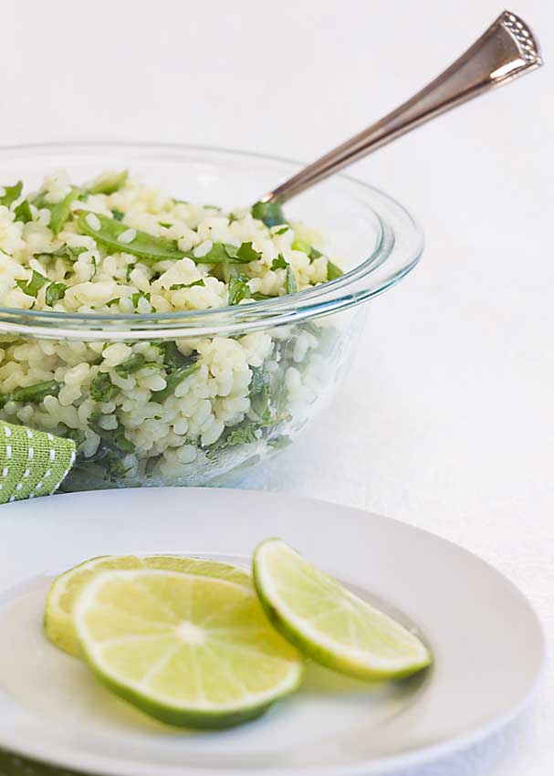 Make comfort food fresh with Cilantro Lime Rice with Snow Peas. Full of fluffy rice, tart lime, flavorful cilantro and spring-y snow peas.