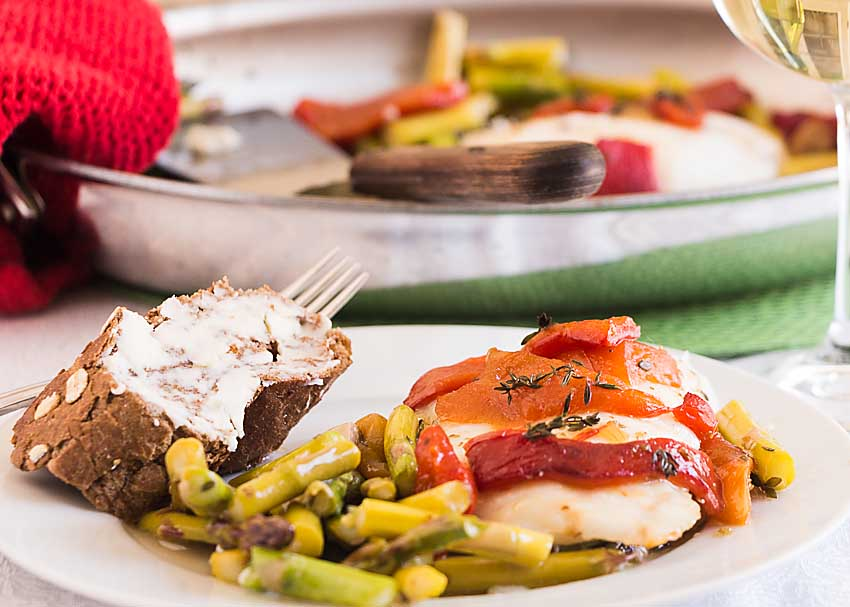 Baked Cod with Jarred Peppers and Asparagus is quick, easy and delicious. Everyone deserves an easy day--without sacrificing flavor or nutrition!