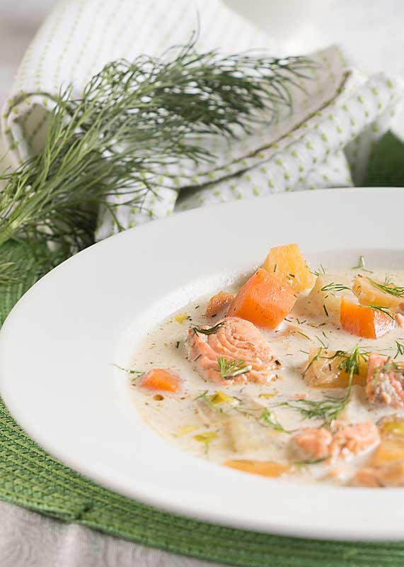 With salmon, dill and root vegetables, Finnish Salmon Soup is a light, healthful soup that will carry you from winter into spring.