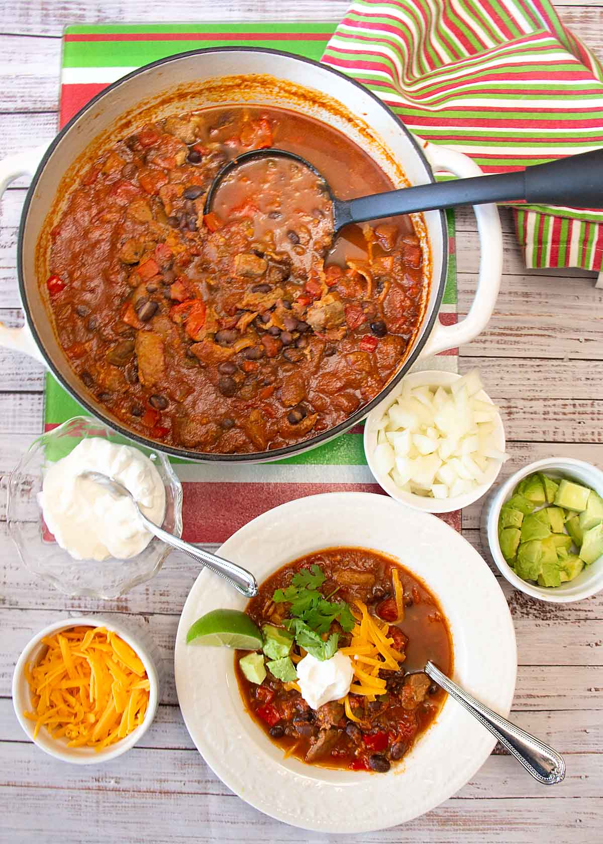 This savory Pork Chili blends flavorful spices, peppers and tomatoes with rich tender pork for a tasty lunch or dinner. But is it a chili or a stew?