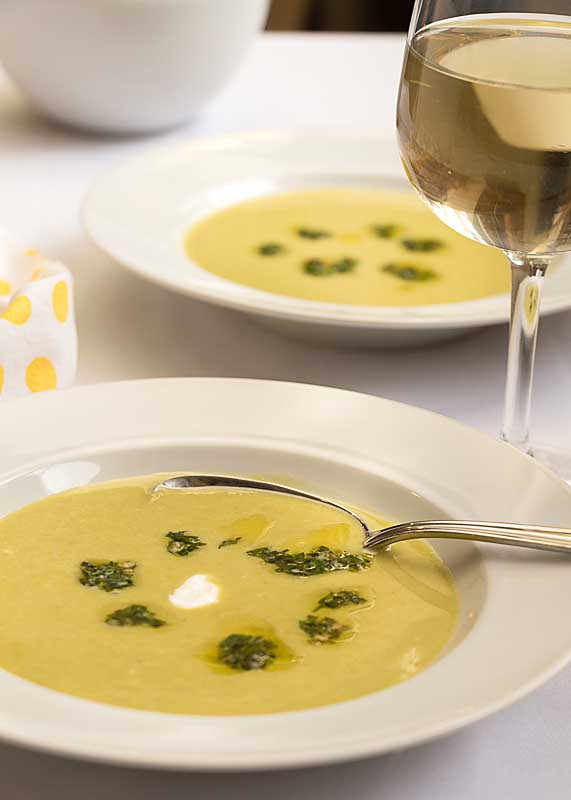 If sometimes creamed soups can feel bland, try this Asparagus Soup with Chimichurri Sauce. which adds a big herbal punch to a rich creamy soup!