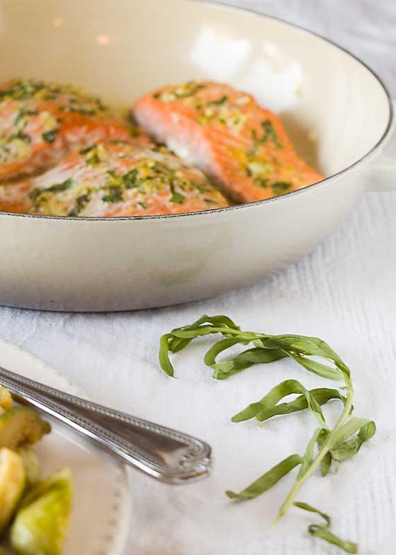 Salmon with tarragon and lemon