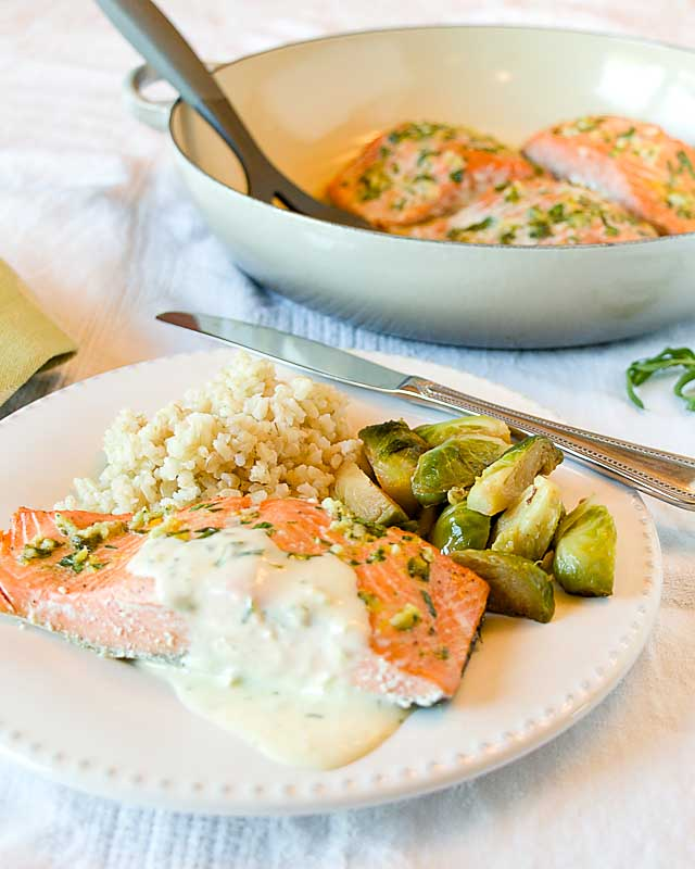 With layers of lemon and tarragon flavor, Lemon Tarragon Salmon with Quick Béarnaise matches a flavorful fish with a rich but easy sauce.