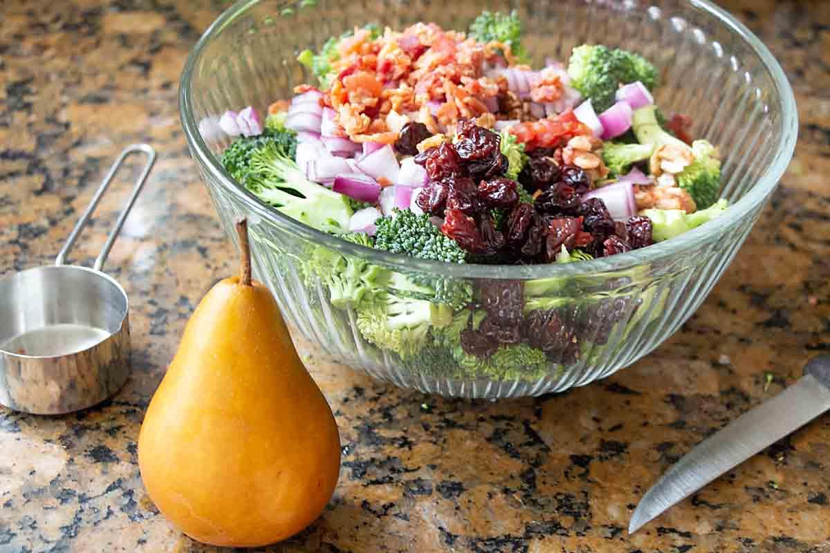 Broccoli Waldorf Salad is delicious with Bosc Pear
