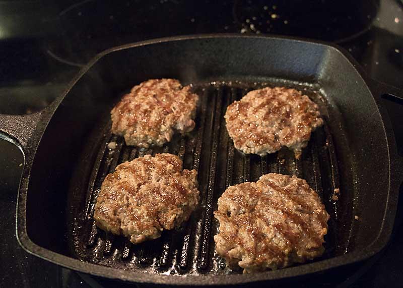 lamb patties in grill pan