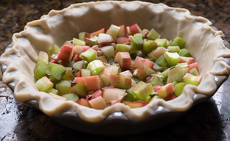 Put rhubarb in pie crust