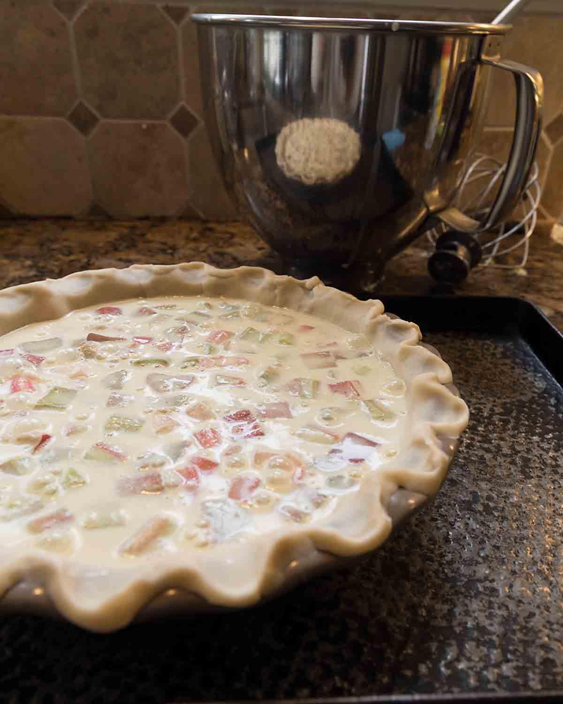 Unbaked rhubarb custard pie