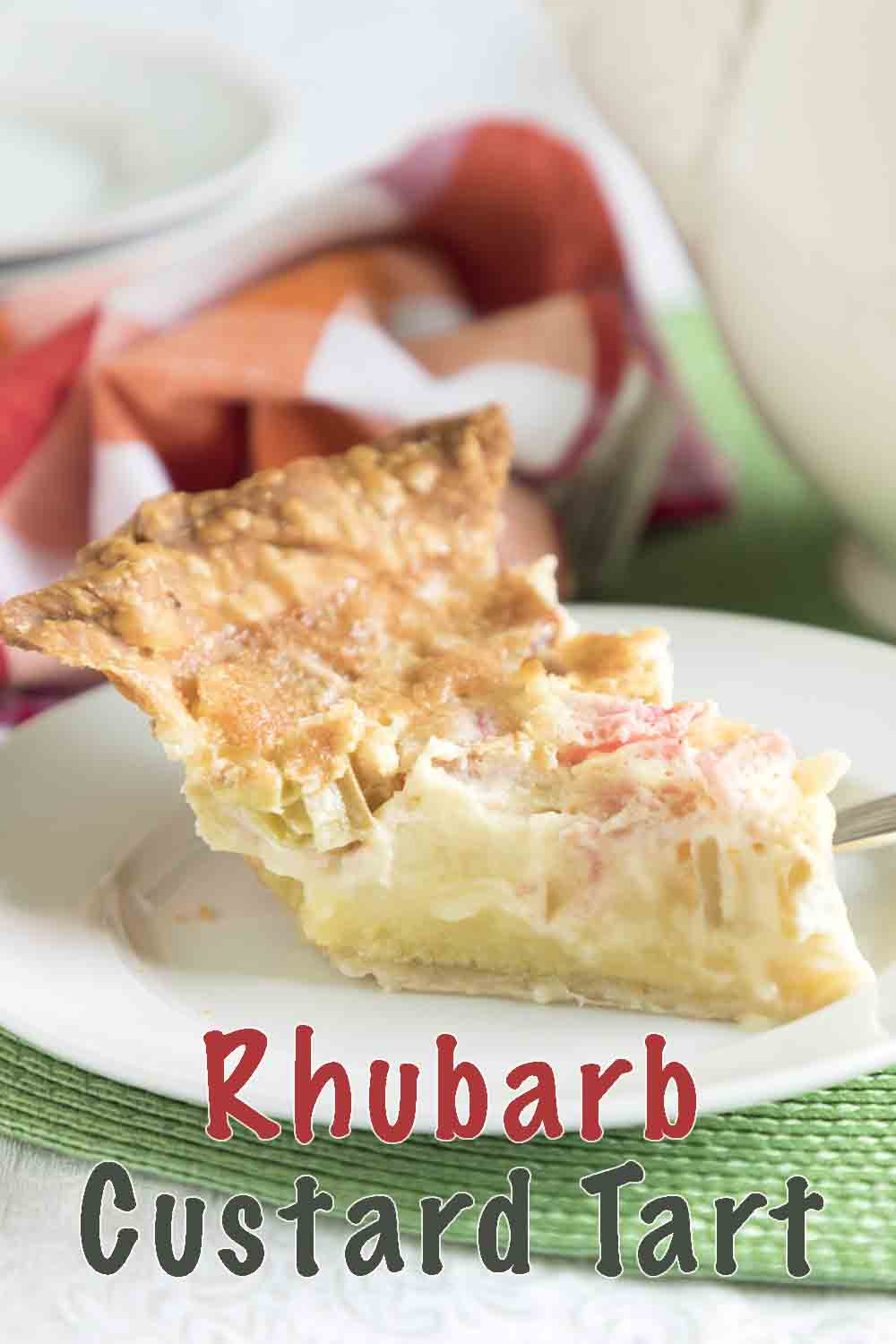 With a creamy sweet custard topped with tart rosy rhubarb, rhubarb custard pie is an easy dessert, snack or brunch recipe!