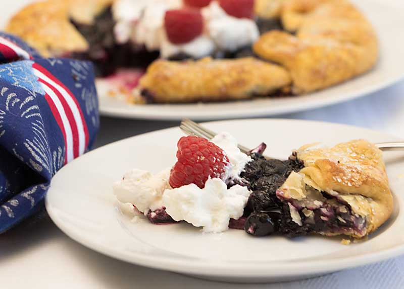 Blueberry galette decorated for the 4th of July