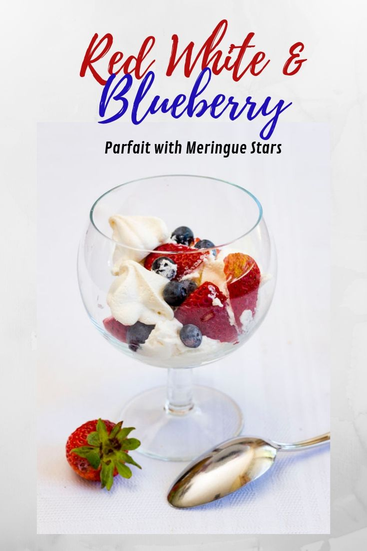 Simple meringue stars with strawberries, blueberries & whipped cream make this Red White and Blueberry Parfait with Meringue Stars a perfect July 4 dessert!