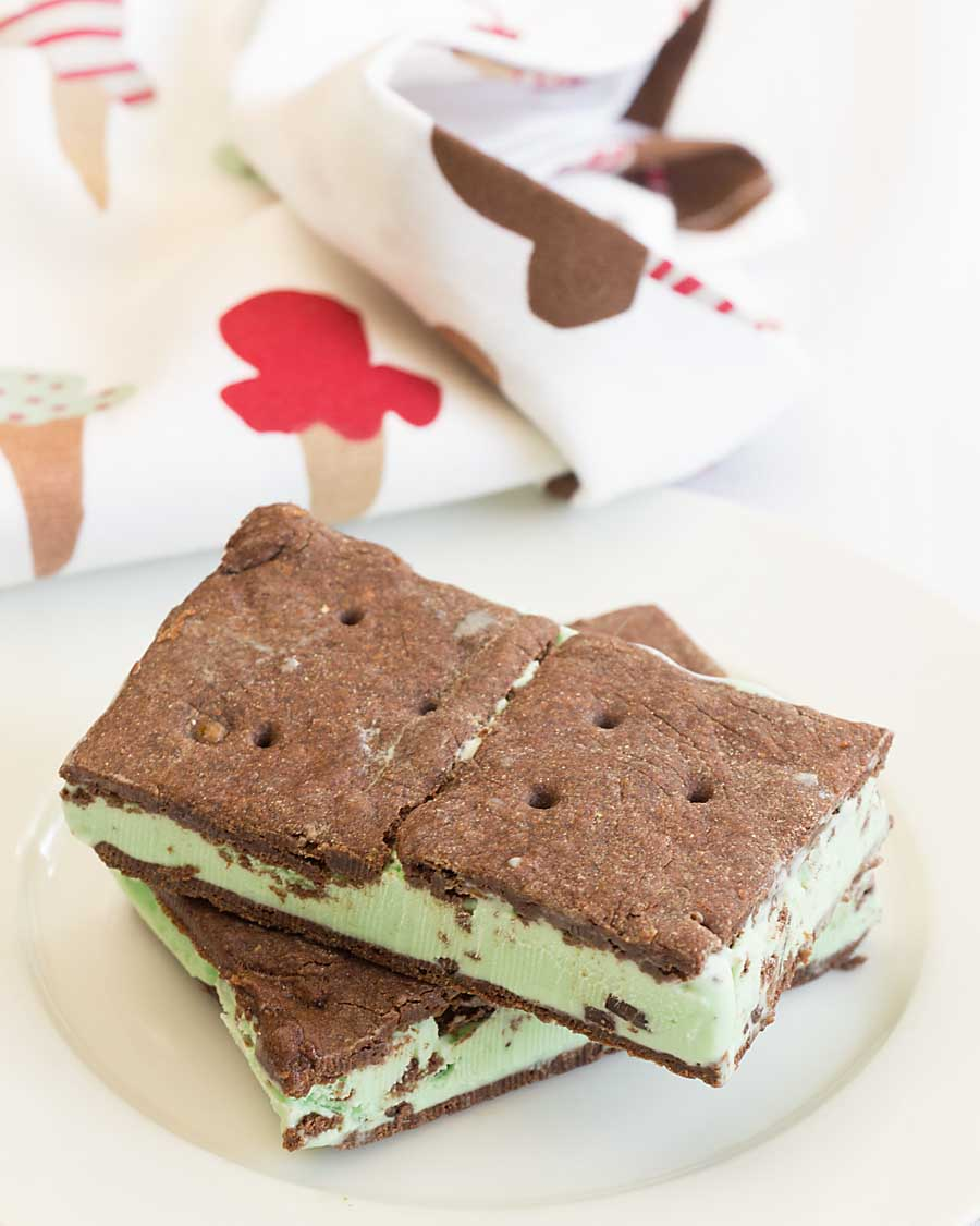 Gluten Free Ice Cream Sandwiches are easy to make at home. Just bake the chocolate sandwich wafers and fill with your favorite ice cream!