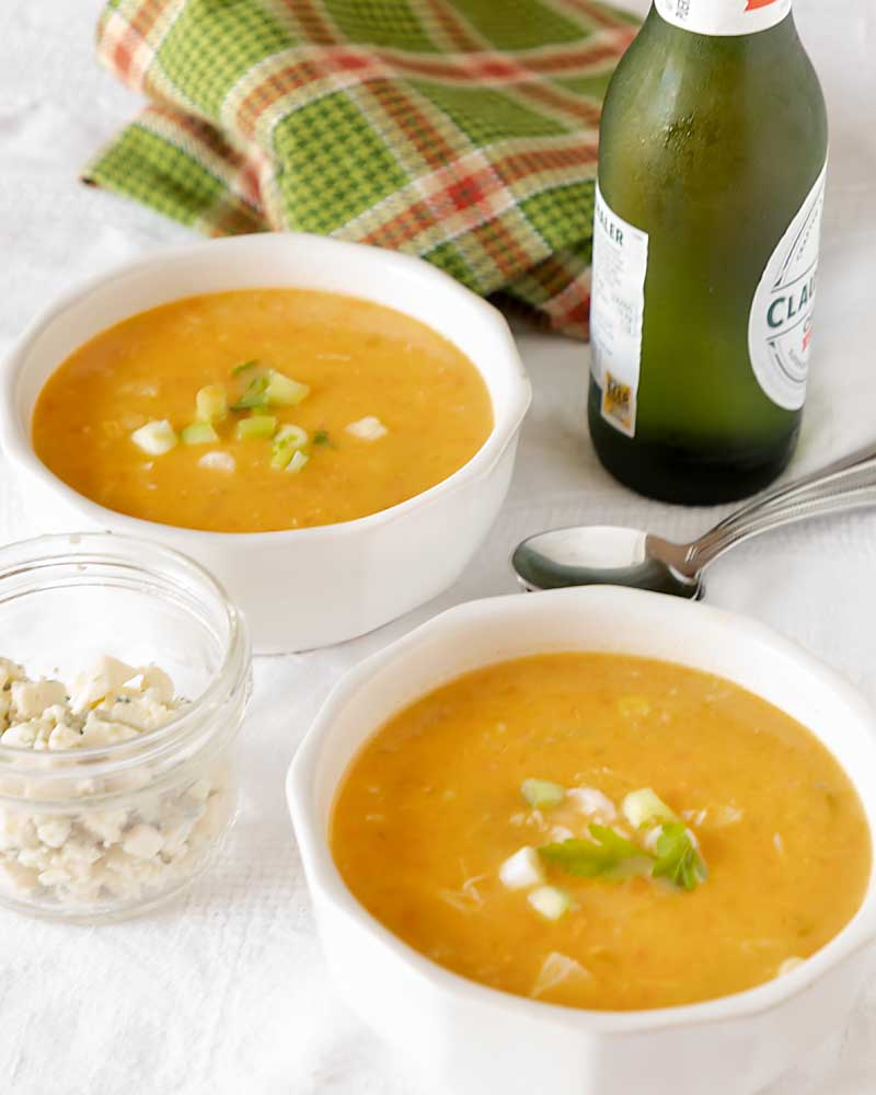 Based on the popular appetizer, Buffalo Wing Soup, has a ton of flavor, tender chicken and even a few vegetables. Perfect for game day or any day.