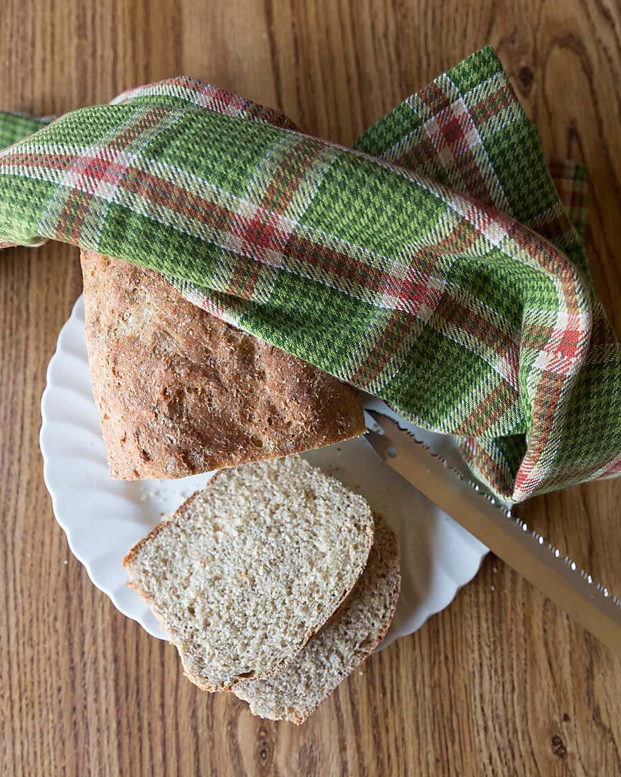 Flavored with dill and dried minced onion, this white whole wheat dilly bread is light and tasty and perfect for cooler weather.