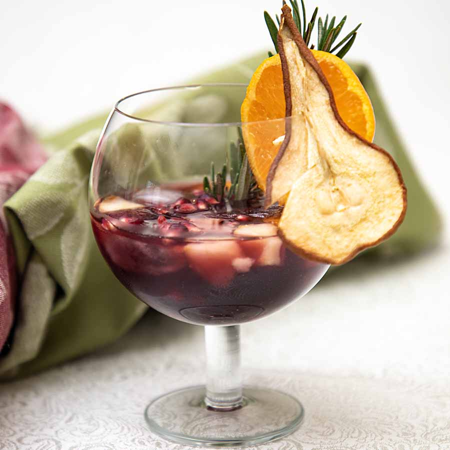 With warm notes from citrus & cloves, plus a fall fruitiness from pears & apple brandy, this Late Harvest Sangria is perfect for the holidays or all winter.