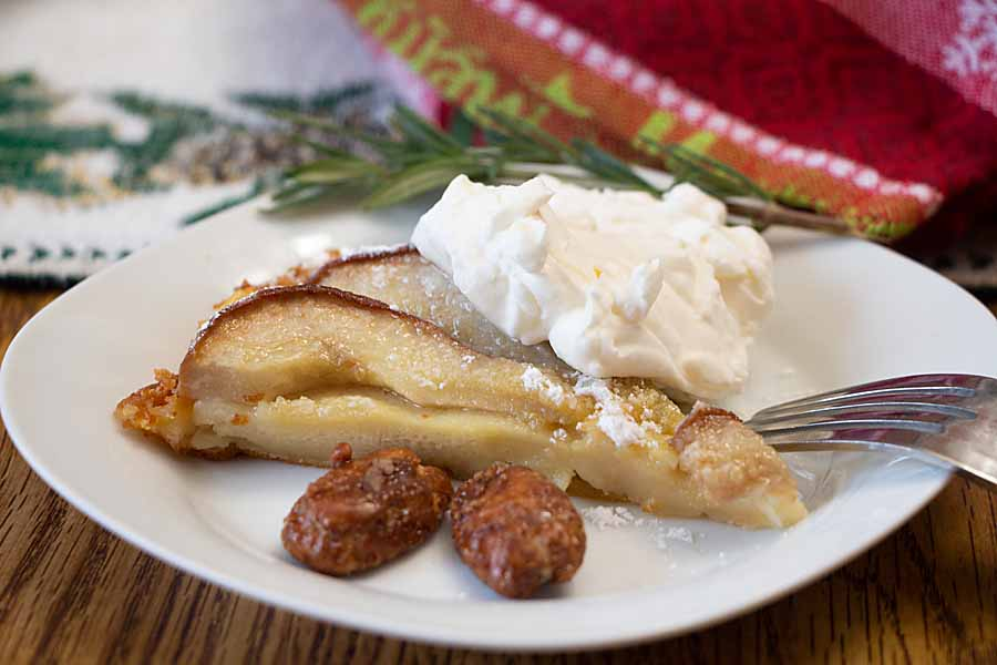 Sweet pears in an eggy vanilla custard, Pear Custard Pie is a quick and tasty recipe that is perfect for a holiday brunch or light dessert.