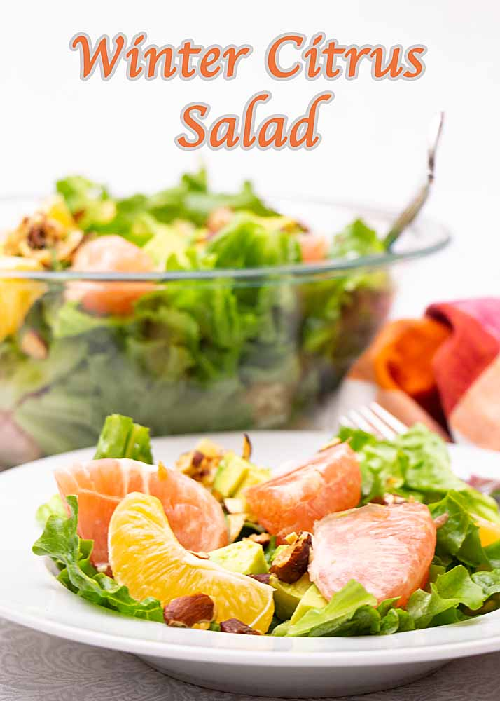Slightly sweet with brilliant color and flavor, this Winter Citrus Salad tops crisp lettuce with juicy grapefruit, oranges, avocados and chopped almonds.