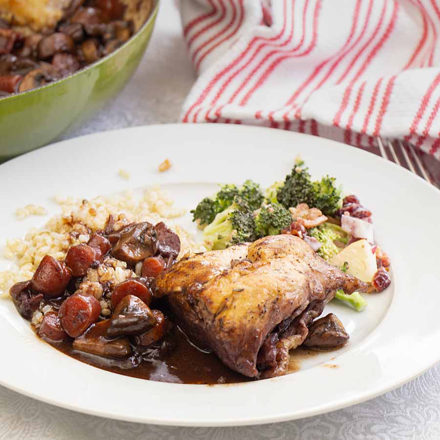 Chicken, in a rich red wine sauce, Coq au Vin has an intense depth of flavor from bacon, herbs, mushrooms, garlic, wine and more.