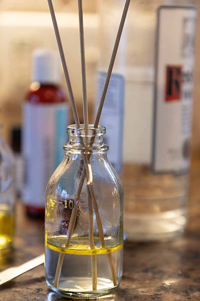 making Homemade Essential Oil Reed Diffusers