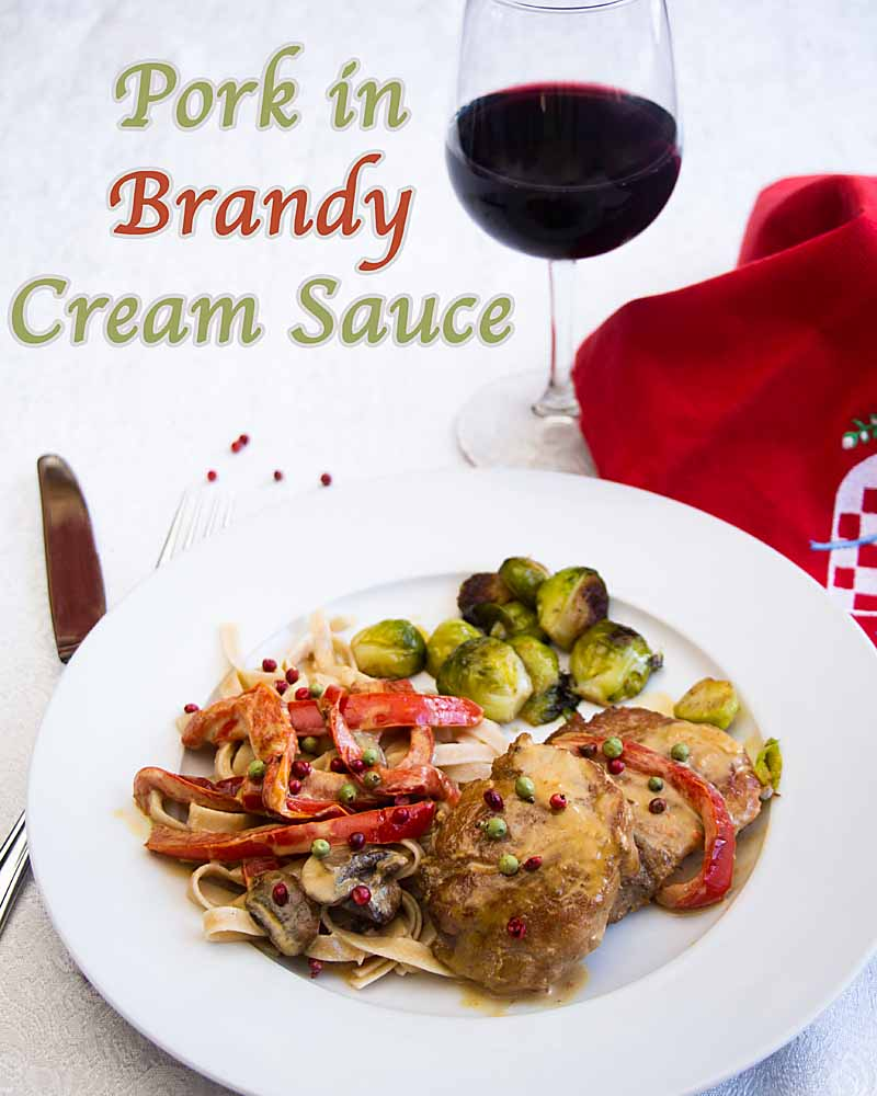 Pork in Brandy Cream Sauce pairs tender pork with ripe peppers, mushrooms, brandy and cream, then tops it off with pink and green peppercorns.