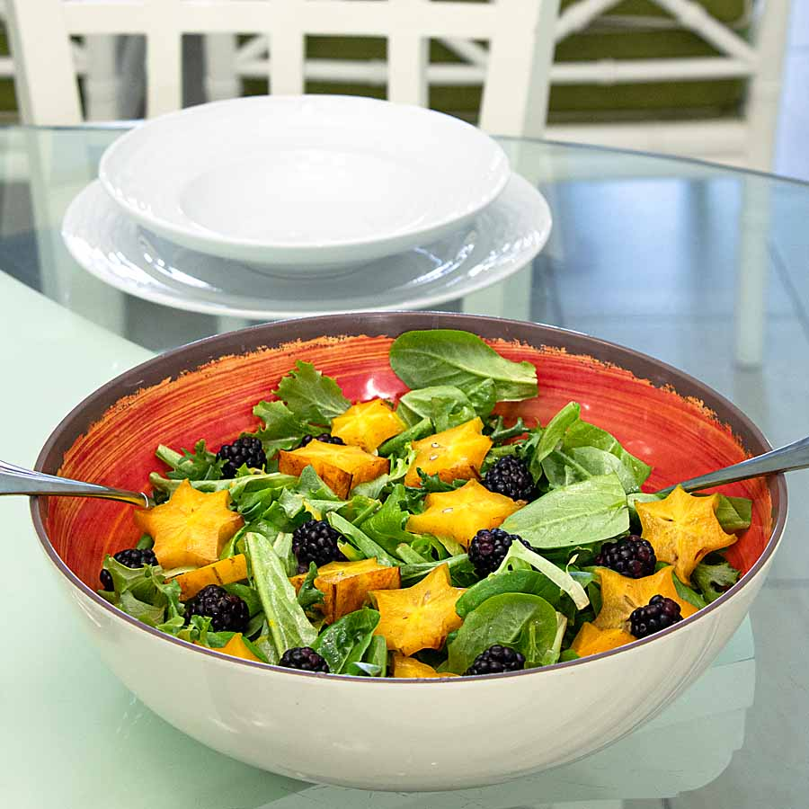 Blackberries, starfruit and salad greens pair with fresh passion fruit dressing in this tasty Moon and Starfruit Salad.
