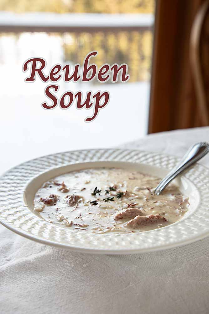 Meaty and creamy, this low-carb Reuben soup blends corned beef, swiss cheese and sauerkraut into a soup that's perfect St Patrick's Day--or any time.
