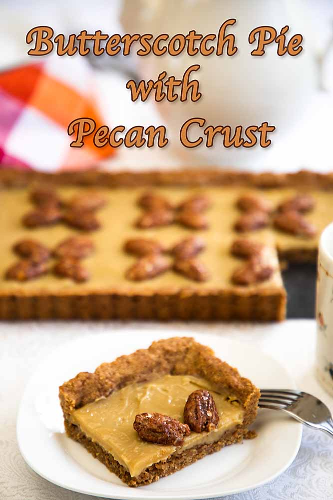Creamy butterscotch pudding in a rich pecan shortbread crust makes Butterscotch Pie with Pecan Crust a stunning and delicious dessert.