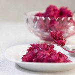 With earthy chopped beats, tart sour cream and minced red onion, this Creamy Beet Salad is tasty, easy and pretty enough for any spring buffet.