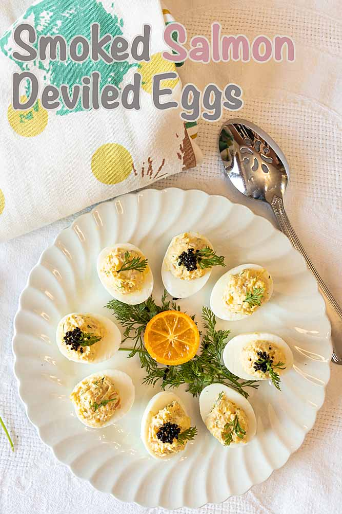 Creamy, with a hint of smoked salmon, these smoked salmon deviled eggs are perfect for Easter or Mother's Day brunch--or a summer picnic.