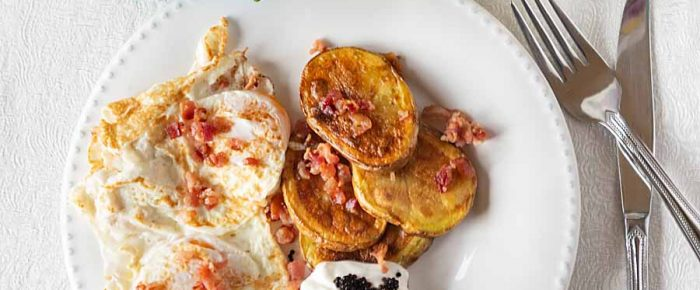 Fried Potato Steaks with Sour Cream